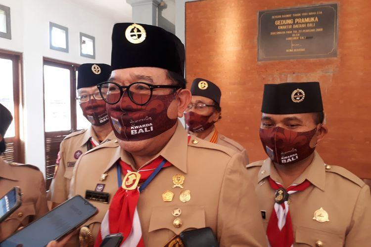 Wakil Gubernur Bali, Tjokorda Oka Artha Ardana usai menghadiri Rapat Kerja Daerah Pramuka Kwarda Bali, di Gedung Kwarda Bali, Jalan Tantular, Denpasar, Rabu (29/7/2020) sore.