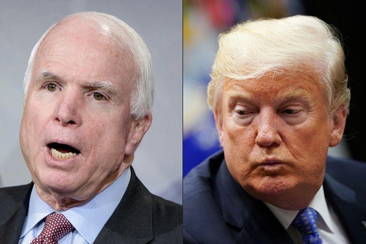 Mendiang Senator Amerika Serikat John McCain (kiri) dan Presiden Donald Trump.