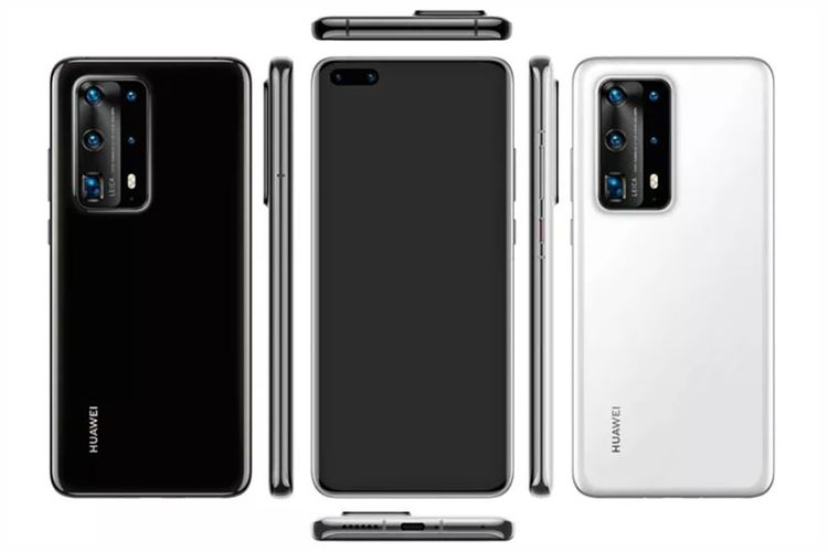 Bocoran penampilan seri ponsel Huawei P40 dari berbagai sisi.