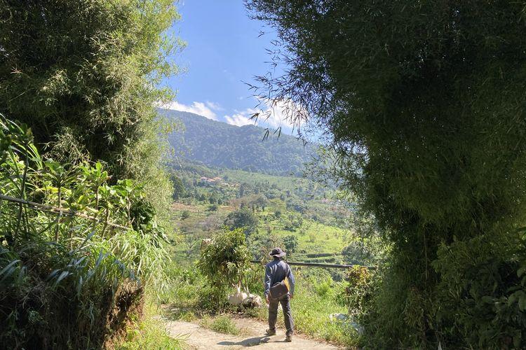 Seorang wisatawan sedang trekking di jalur trekking kaki Gunung Salak yang berlokasi di Desa Pasirjaya, Kecamatan Cigombong, Kabupaten Bogor, Kamis (27/5/2021).