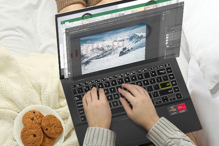 Ilustrasi laptop dengan AMD Ryzen 4000 Series Mobile Processor