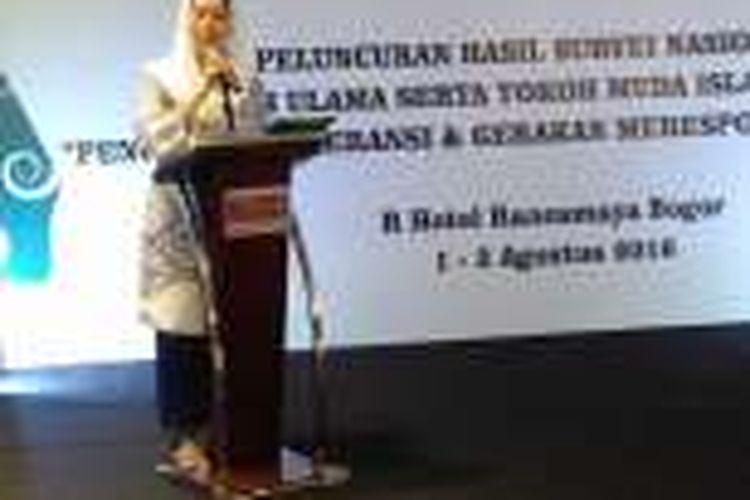 Yenny Wahid memberikan sambutan dalam paparan hasil survei nasional  terkait intoleransi dan radikalisme umat Islam di Indonesia