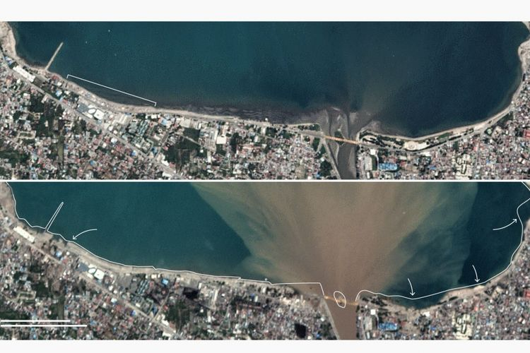 Perbandingan garis pantai di Palu sebelum dan sesuah gempa Donggala