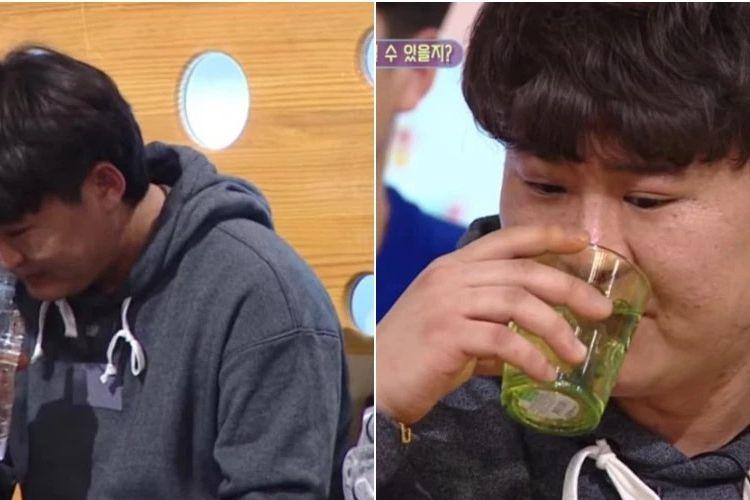 Potongan video memerlihatkan seorang pria yang hadir dalam acara ragam Korea Selatan berusaha mencium dan minum air putih. Pria itu mengaku tidak minum air selama 20 tahun karena trauma waktu kecil.