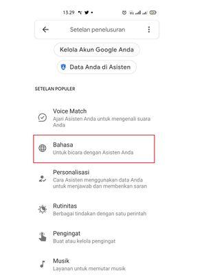 Melalui opsi Bahasa, pengguna bisa memilih bahasa Indonesia untuk berinteraksi dengan Google Assistant.