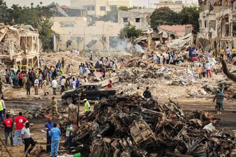 Bom yang meledak di Mogadishu, ibu kota Somalia, pada Sabtu (14/10/2017), menewaskan lebih dari 350 orang. (Foto:Dok)