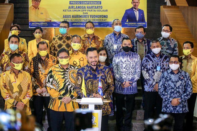 AHY bertemu Airlangga Hartarto di kantor DPP Golkar, Jakarta, Kamis (25/6/2020) malam.