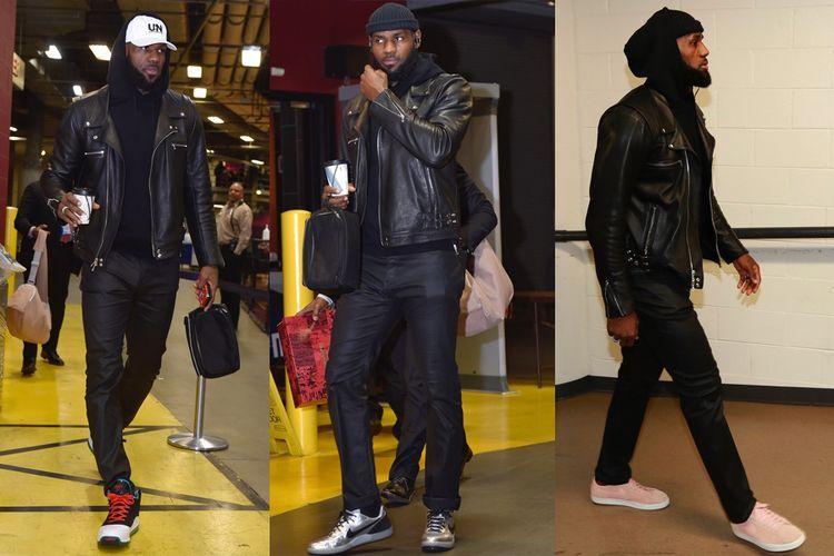 LeBron James telah memakai gaya streetwear-meet-biker ini saat tiba di stadion menjelang pertandingan, setidaknya dalam lima gim terakhir.