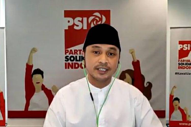 Pelaksana tugas (Plt) Ketua Umum Partai Solidaritas Indonesia (PSI) Giring Ganesha dalam konferensi pers virtual, Senin (24/8/2020).