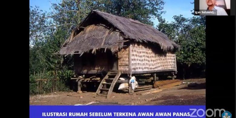 Ilustrasi rumah penduduk Tambora sebelum hancur terkena awan panas