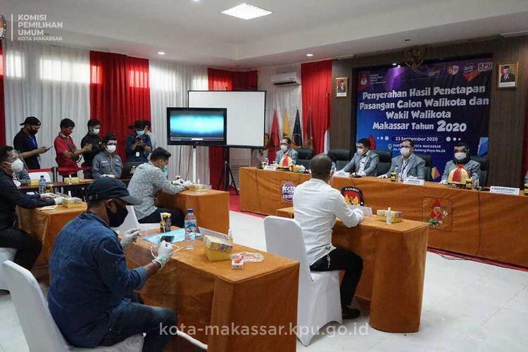 KPU Makassar menggelar rapat pleno tertutup penetapan empat pasangan calon Wali Kota dan Wakil Wali Kota Makassar, Rabu (23/9/2020).