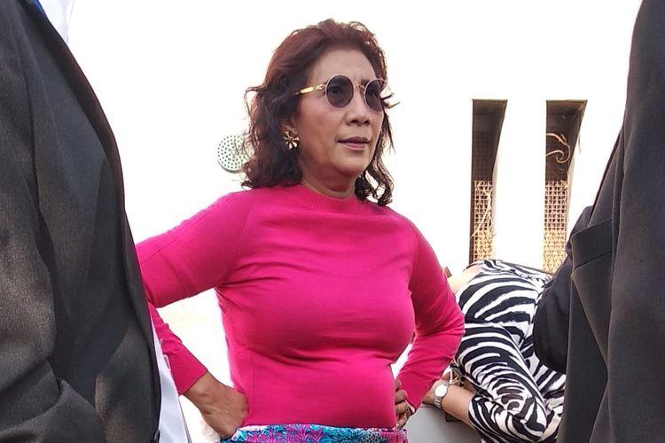 Menteri KKP Susi Pudjiastuti rehat di sela-sela Sidang Umum PBB di New York, AS, Senin (23/9/2019). Usai dari PBB, Menteri Susi memberi kuliah umum di New York University.