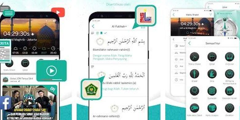 Cuplikan antar muka aplikasi Muslim Go