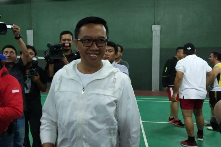Menteri Pemuda dan Olahraga, Imam Nahrawi dalam kesempatan pemberian bonus lanjutan kepada atlet berprestasi di Lapangan Bulutangkis Kemenpora, Jakarta pada Selasa (4/9/18).