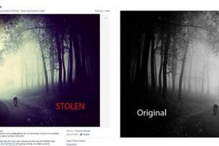Perbandingan foto asli karya Hengki Koentjoro (kanan) dan foto yang diikutkan dalam lomba Instagram Samsung, sebagaimana dijelaskan oleh Hengki dalam akun Facebook miliknya