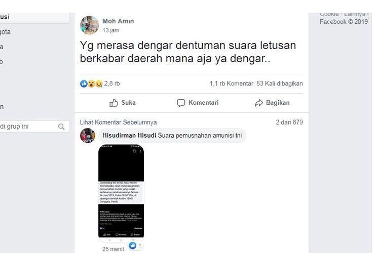 Viral suara dentuman aneh di Kota Palu pada Selasa (25/6/2019) siang di grup Facebook InfoKotaPALU.