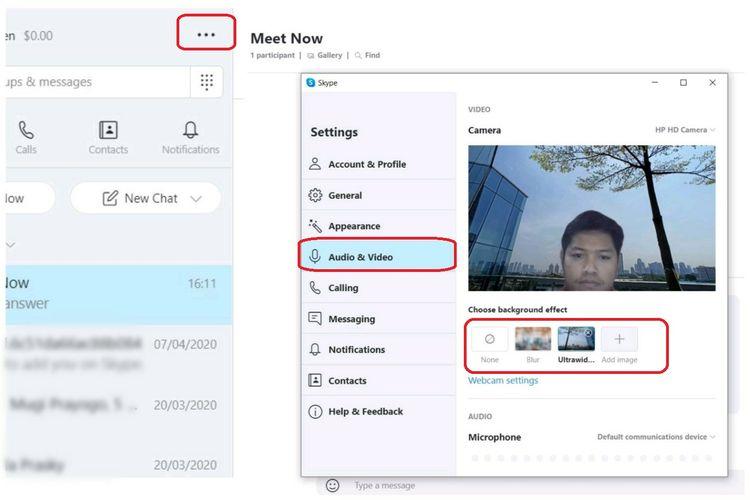 Cara mengubah background di Skype lewat menu pengaturan.