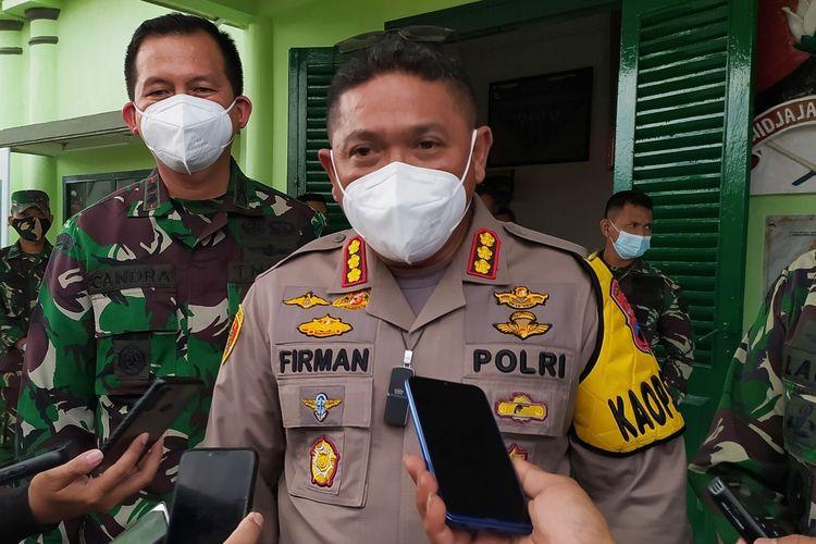 Kapolresta Banyumas Kombes M Firman L Hakim di Makodim Banyumas, Jawa Tengah, Kamis (15/7/2021).
