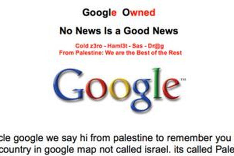 Laman situs Google Palestina yang dibajak peretas