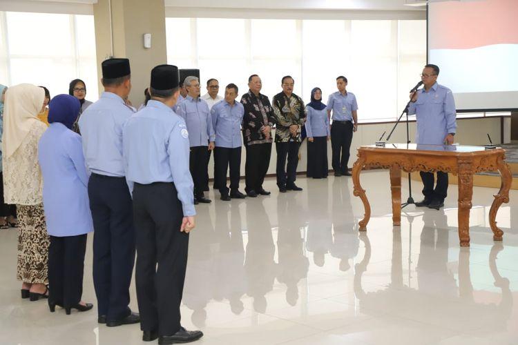 Menteri Kelautan dan Perikanan Edhy Prabowo saat melantik 4 pejabat pimpinan tinggi madya di lingkungan Kementerian Kelautan dan Perikanan (KKP).