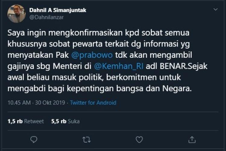 Tangkapan layar konfirmasi dari akun twitter @Dahnilanzar.