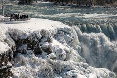 Gara-gara Badai Salju, Sebagian Air Terjun Niagara di AS Jadi Es