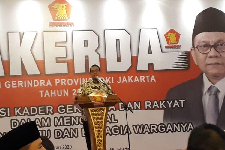 Gubernur DKI Jakarta Anies Baswedan saat memberikan sambutan dalam acara rapat kerja daerah (rakerda) DPD Partai Gerindra DKI Jakarta di Hotel Grand Sahid Jaya, Jakarta Pusat, Minggu (26/1/2020).