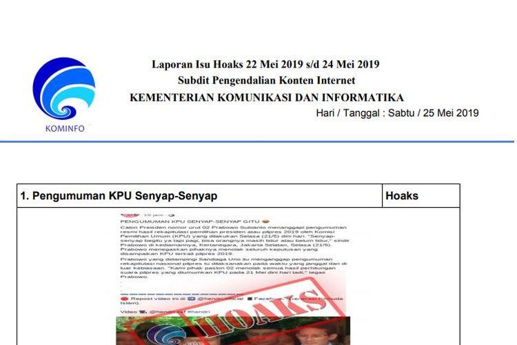 Laporan Hoaks Kominfo 22-24 Mei 2019