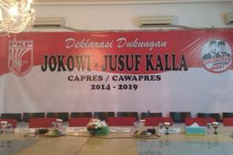 Ruangan tempat yang akan digunakan Partai Keadilan dan Persatuan Indonesia untuk deklarasi dukungan capres-cawapres, Joko Widodo dan Jusuf Kalla, di kantor DPP PKPI, Menteng, Jakarta Pusat, Kamis (22/5/2014)