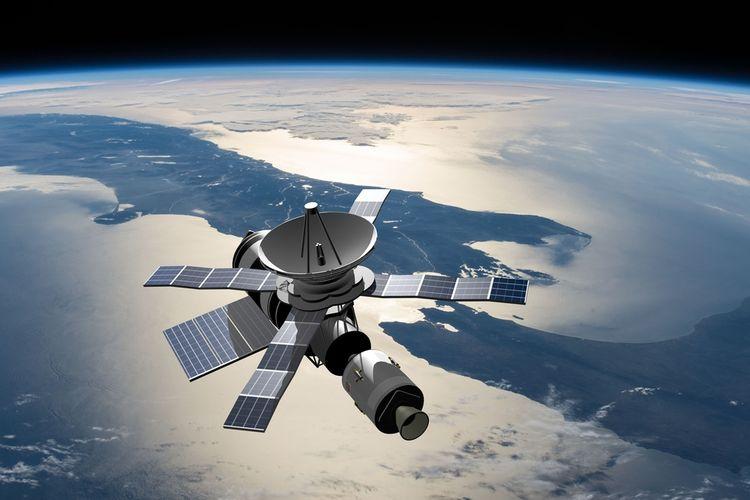 Ilustrasi satelit mengorbit Bumi.