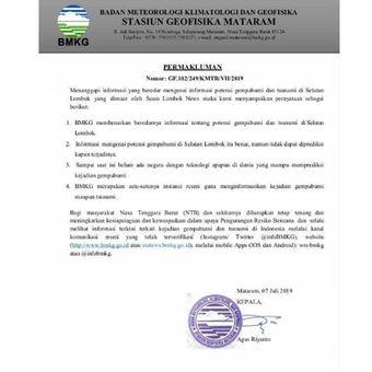 Tangkapan layar surat dari BMKG Mataram