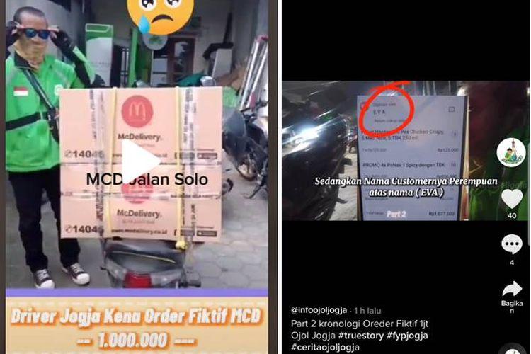 Tangkapan layar order fiktif makanan Rp 1 juta