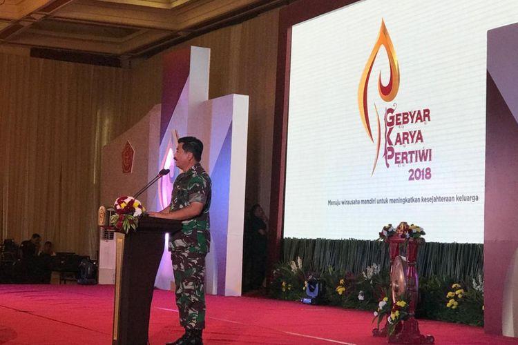 Panglima TNI Marsekal Hadi Tjahjanto di acara Gebyar Karya Pertiwi 2018 di Balai Sudirman, Jakarta Selatan, Kamis (6/9/2018), sekitar pukul 08.10 WIB.
