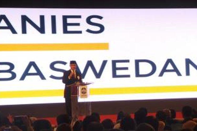 Rektor Universitas Paramadina, Anies Baswedan sebagai peserta konvensi calon presiden Partai Demokrat menyampaikan visi dan misinya di Hotel Grand Sahid Jaya, Minggu (15/9/2013) malam.