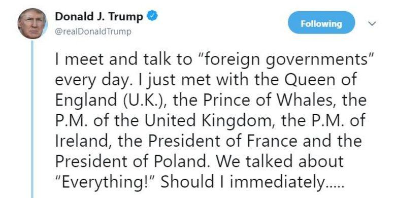 Inilah kicauan Presiden Amerika Serikat Donald Trump berisi kesalahan penyebutan gelar Pangeran Charles.