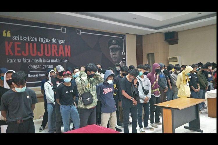 116 pelajar ditangkap di Polres Metro Bekasi Kota, Jumat (10/10/2020).