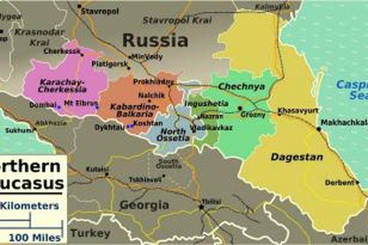 Peta kawasan pegunungan Kaukasus, Rusia.