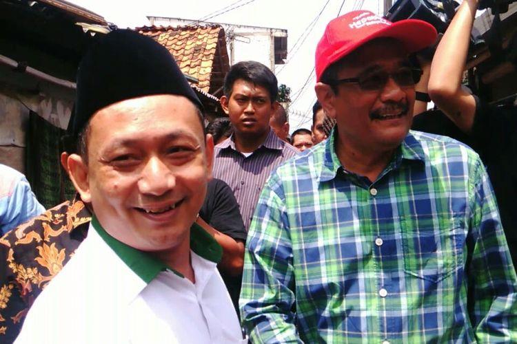 Calon wakil gubernur DKI Jakarta Djarot Saiful Hidayat dan Ketua DPW PKB DKI Hasbiyallah Ilyas saat berkampanye di wilayah RW 08 Kelurahan Pulogebang, Kecamatan Cakung, Jakarta Timur. Selasa (4/4/2017