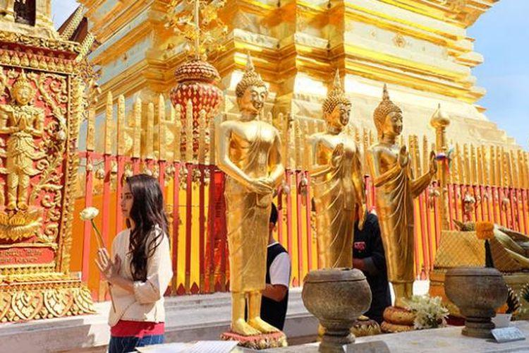 Wat Phra That Doi Suthep, candi di Chiang Mai, Thailand.