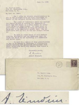 Salah satu surat Einstein yang akan dilelang Jumat (29/3/2019).