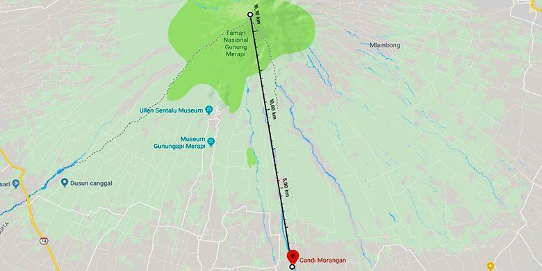 Jarak Candi Morangan dari Puncak Gunung Merapi