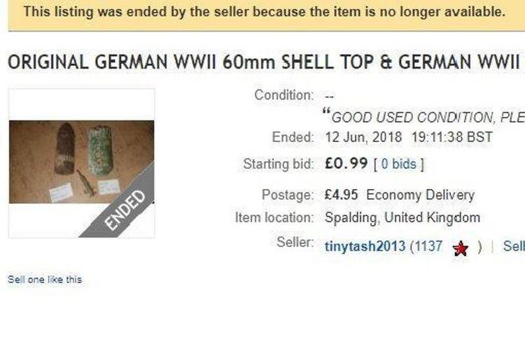 Penampilan halaman penjualan bom sisa Perang Dunia II di eBay yang dipasang Tracie Wright pad apekan lalu. (The Sun)