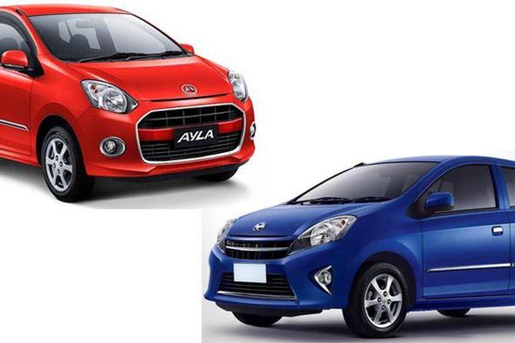 Ilustrasi Daihatsu Ayla (merah) dan Toyota Agya (biru)