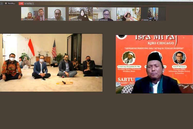 Peringatan Isra Mikraj virtual bertajuk Memaknai Isra Mikraj di Tengah Pandemi yang digelar KJRI Chicago, Amerika Serikat (AS), pada Sabtu (20/3/2021).