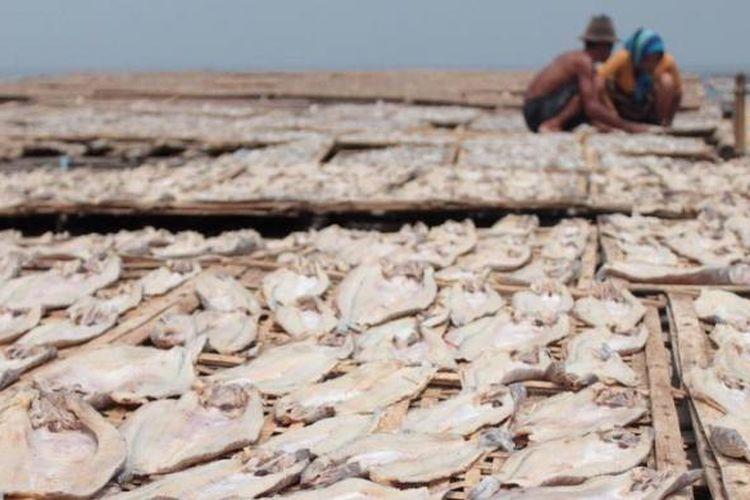 Warga Mayangan Probolinggo Jawa Timur, Jumat (18/1/2013) menjemur ikan untuk dijadikan ikan kering. Harga ikan kering dan ikan asin saat ini naik 2 kali lipat saat ini karena banyak nelayan tidak melaut akibat cuaca buruk. Biasaya harga ikan kering antara Rp 4000-10.000 per kilogram, saat ini harganya antara Rp  8000-16.000 per kg.