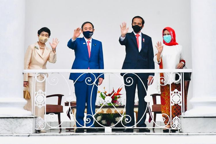 Presiden Joko Widodo bertemu Perdana Menteri Jepang Suga Yoshihide di Istana Kepresidenan, Bogor, Selasa (20/10/2020).
