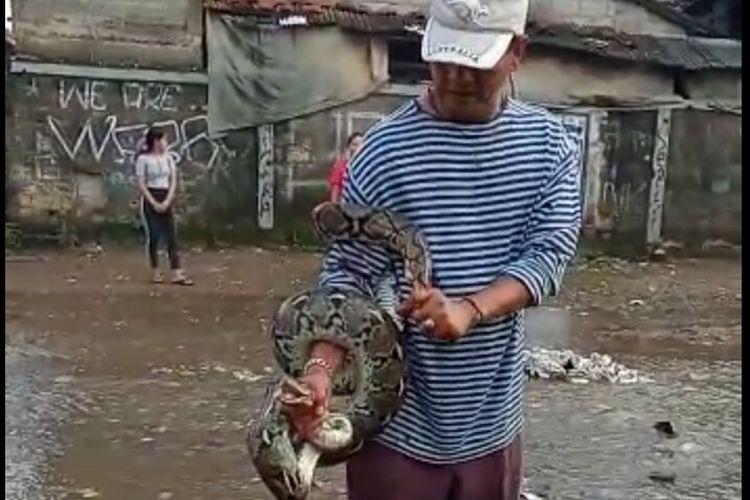 Warga yang bermukim di RT 09 RW 10 Kelurahan Kedaung, Pamulang, Tangerang Selatan menangkap ular sanca sepanjang sekitar 3 meter saat benjir melanda wilayahnya pada Senin (27/1/2020) kemarin.