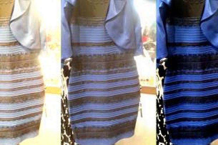 Foto bagian tengah menunjukkan warna asli gaun yang diunggah Wiked. Foto sebelah kanan menunjukkan warna asli setelah diedit oleh tim Wired untuk mengungkap warna gaun sebenarnya.