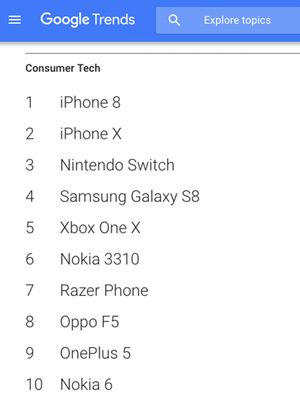 Daftar pencarian terpopuler kategori Consumer Tech, dalam laporan Google Year in Search 2017.
