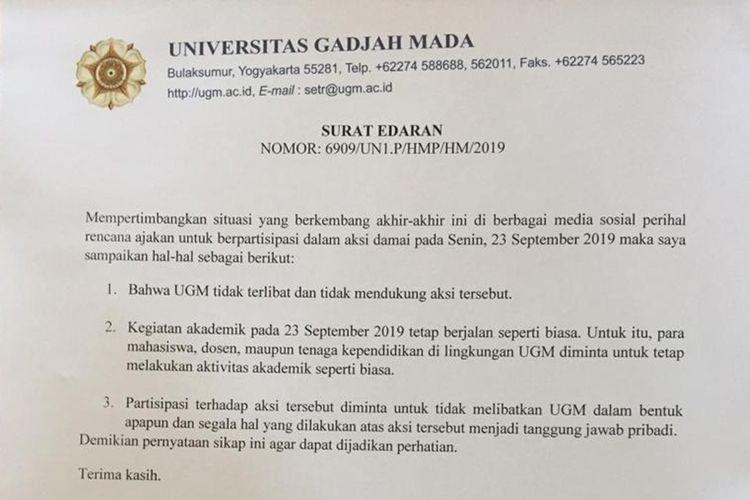 surat edaran resmi dari UGM